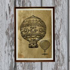 Antique balloons print on handmade old paper.  Beautiful 8.3 x 11.7 (A4) antiqued decoration for your home and office.  Paper for each print is
