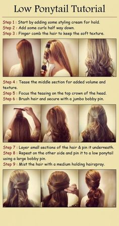 low ponytail hairstyle for long hair