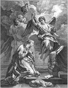 Angylion: Gabriel appears to Mary and foretells the birth of Jesus V Religious Images, Religious Art, Art And Illustration, Rennaissance Art, Biblical Art, Catholic Art, Classical Art, Angel Art, Christian Art