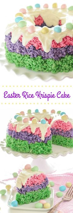 Easter Rice Krispie Cake! Festive easy no-bake dessert for #Easter!