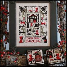cross stitch pattern : little red riding hood the prairie schooler book 185 fables baby counted cross stitch diy