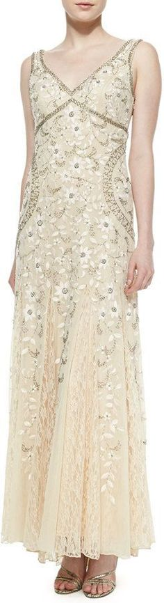 SUE WONG SLEEVELESS BEADED LACE BOTTOM GOWN