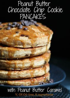 Well, hi there you tall, sexy stack of fluffy peanut butter chocolate chip pancakes with gooey caramel dripping down your sides. Nice to meet you. If you didn't already see yesterday's 3 Ingredient...