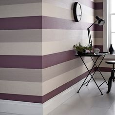 Graham & Brown Superfresco Java Plum Wallpaper - 18943 for sale online Bedroom Wall Paint, Room Wall Painting, Interior, Striped Wallpaper, Home Decor, Plum Wallpaper, Wall Design, Room Paint, Striped Walls