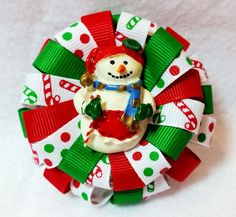 """Stacked Flower Loop Hair Bow - Christmas Snowman 3"""" Stacked Hair Bow Dual Tier Resin Christmas Snowman Embellishment Covered Metal Alligator Clip with Slip Resist Pad Christmas Holiday and Coordinatin"""