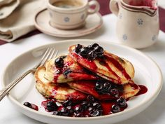 Hotcakes with Delicious Blueberry Compote Recipe : Food Network - FoodNetwork.com
