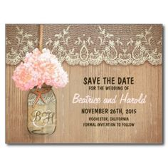 romantic mason jar pink flowers save the date postcard