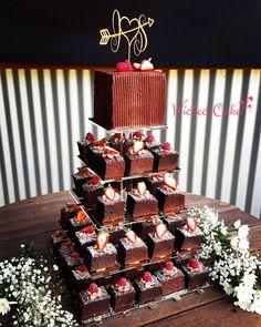 Chocolate Brownie Tower Wedding Cake Www Wickedcake