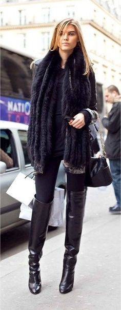Fashionista: Adorable high heels fashion. All Black & Over the Knee Boots <3