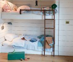 Bunk Beds Built In, Cool Bunk Beds, Built In Beds For Kids, Linen Bedding, Bedding Sets, Bed Linens, Beddinge, Kids Bedroom, Bedroom Decor