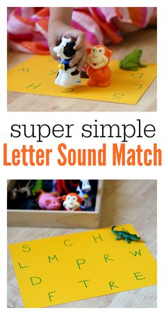 Use what you have for a letter sounds game for your kids in this Super Simple Letter Sounds Match | This Reading Mama