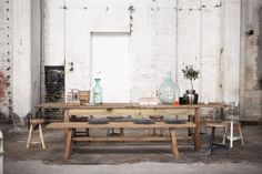 rustic dining table, bench and stools