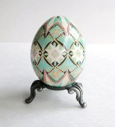Pysanka, batik egg on chicken egg shell, Ukrainian Easter egg, hand painted egg. $29.95, via Etsy.