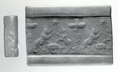Cylinder seal and modern impression: rampant lions over grazing ram Period: Middle Assyrian Date: ca. 13th century B.C. Geography: Mesopot...