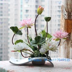 flower arrangement ikebana arranged artificial lotus flower silk flower include vase Home Decoration FV29 US $54.99