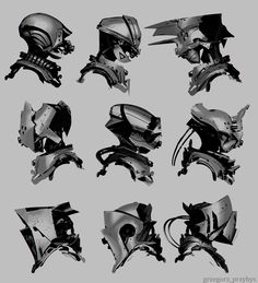 Some sci-fi/medieval helmet design research.