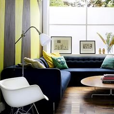 Modern living room with striped wallpaper