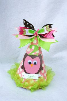Hoot Owl birthday party hat in pink. lime and chocolate brown polka dot this lady makes awesome beautiful party hats.i have ordered them before