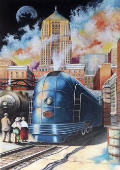 All Aboard by David Neace New York Central Railroad, Colored Pencil Artwork, Baroque Art, Train Art, Old Trains, Electric Train, Train Pictures, Steam Locomotive, Travel Posters