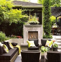 Concrete framed outdoor fireplace has dramatic, modern impact on this patio area! Create a stunning patio and backyard with these creative outdoor spaces and design ideas that will surely inspire you. Living Pool, Outdoor Living Rooms, Outside Living, Outdoor Spaces, Outdoor Decor, Outdoor Seating, Living Spaces, Outdoor Dining, Outdoor Sofa