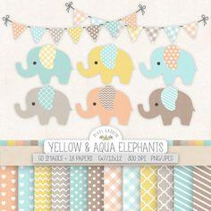 Baby Elephant Clipart. Mint, Pink Baby Shower Clip Art, Digital Paper. Chevron, Polka Dot Banner. Pastel Yellow, Aqua, Blue Nursery Clipart
