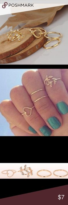 🙀Midi Ring Leaf 💕Heart Knuckle Rings Fashion and elegant design. Beautiful and moving. At the mall, very charming. Girl decoration. Look generous woman. You can give as a gift quality is very good Gold color All of the rings are size 4 Jewelry Rings
