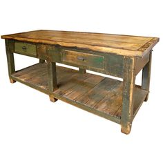 19th Century Working Island/Workbench  Canada  1890. Have 1 in the carriagehouse we have to refinish this spring. New kitchen island.
