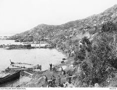 Anzac Beach, Gallipoli. 1915. Looking north along Anzac Cove after Anzac Corps had landed and members were settling in on the slopes of the hills. Australian War Memorial, H02316