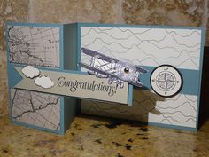 Open Sea, Sky is the limit and Going Places dsp from Stampin up. Enjoy and visit me at http://thescrappingqueen.blogspot.com/2016/03/congratulations-with-double-z-fold.html