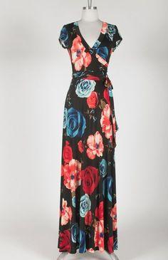88679cebcfa Benechia Women s High-end Boutique Black Floral V neck Wrap Maxi Dress  Large  AmazingDeal