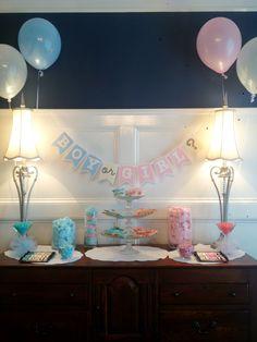 Gender Reveal party sweets table Gender Reveal Banner, Gender Reveal Games, Baby Shower Gender Reveal, Baby Gender, Baby Party, Baby Shower Parties, Baby Shower Gifts, Baby Showers, Rev Party