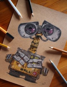 I did another Pixar character...the last one who has to tidy up our planet after all human beings left it... Wall-E