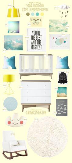 bright & happy yellow nursery inspiration board via @Joni Wells Wells Lay / Lay Baby Lay.