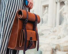Women's Leather Backpack,Rucksack, Shoulder Bag, Handmade Cross-body Bag, Retro Metropolitan Fashion, Gift for her, Vegetable Tanned Leather