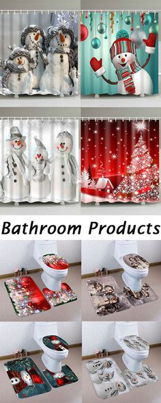 50% OFF Christmas Bathroom Products:Bath mats and Shower Curtains,Free Shipping Worldwide.