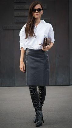 These thigh-length leather boots add edge to a simple white shirt and black wet-look skirt. Office chic just got that bit cooler. See more at www.redonline.co.uk.