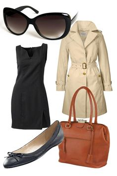 """Chic, casually put-together and classic. Trench coat, LBD, large black sunnies, black ballet flats and...contrasting colour """"it"""" bag."""