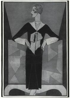 Bowknot sweater by Elsa Schiaparelli, Vogue, December 15, 1927. Illustration: Douglas Pollard.