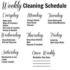 Weekly cleaning schedule by Paula King xXxdy
