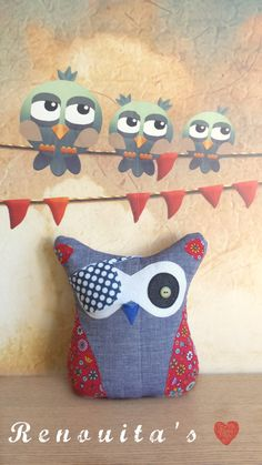 Pirate stuffed 0wl kid's room decor - stuffed owl toy - stuffed owl pillow - stuffed cushion - nursery decor by Renouitas on Etsy