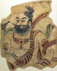 A Brahman or Vajrapani - Bezeklik, Cave 9. 8th-9th c.(?). Wall painting. 66 x 53 cm. MIK III 6893 Pub.: AASR, no. 83, p. 148; MIAB, p. 101