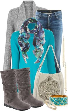 Love the turquoise and the gray