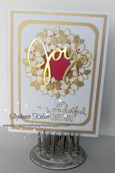 Scrappin With Stephie: Christmas Holiday Blog Hop. Stampin Up Wonderous Wreath stamp set and framelits. joy card