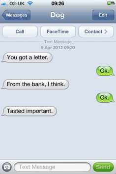 Text from Dog --- this one may as well have been from my cat...