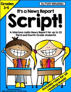 It's a script for a radio news program for kids! Perfect for a class of up to 22  Third or Fourth Graders. Includes roles for all reading levels.  A great way to teach a variety of reading strategies and cover curriculum expectations for Drama.  It's also great for a classroom where students have access to technology and can record, create and post the radio show to appropriate social media all on their own! It's all the fun of a class play, with a *lot* less stress and investment of…