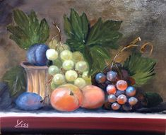 Csendélet szőlővel. olaj, farost,20x25