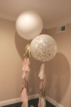 Balloon Tassel // Champagne Blush // Pink, Ivory, Gold, Champagne // 36 inch balloon tissue paper tassel // Wedding, Baby shower, Birthday by LovePrettyDetails on Etsy