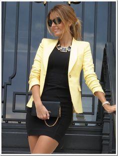 Black dress, yellow blazer