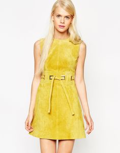 I'll pair this ASOS A-Line Suede Dress with some cropped kick flare  jeans and some wooden heels.