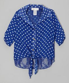 Look what I found on #zulily! Blue Polka Dot & Lace Button-Up - Girls #zulilyfinds